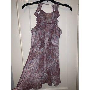 BCBG Generation Purple Ruffle Sleeve Dress